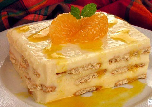 Pavê cremoso de tangerina