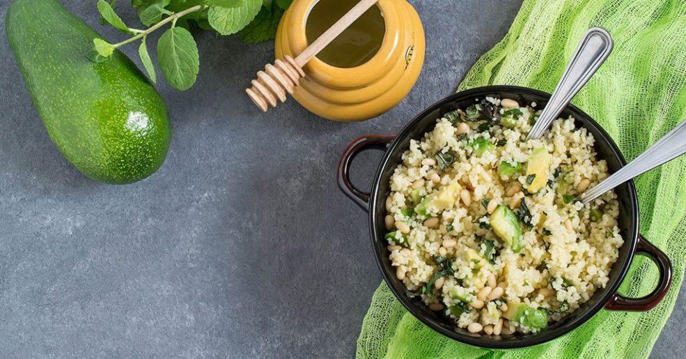 Salada de Cuscuz, Abacate e Hortelã